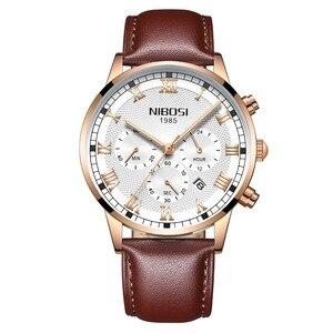 Image 2 - NIBOSI 2019 Neue Quarz Männer Uhr Leder Chronograph Army Military Sport Uhren Uhr Männer Relogio Masculino Männlichen Reloj Hombre