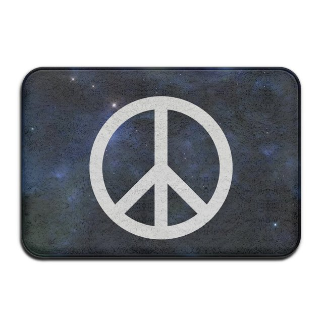 Classic Peace Sign Symbol Logo Indoor Outdoor Durable And Washable Decor Bathroom Entrance Rug