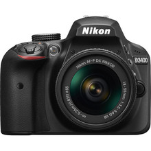 Nikon  D3400 DSLR Camera with 18-55mm Lens -24.2MP  -1080p Video  -Bluetooth -No Low Pass Filter -395g only (2016 new release)