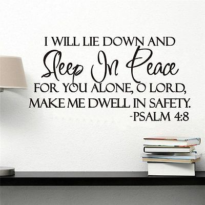 Sleep In Peace Bible Verse Decor Vinyl Wall Decal Quote Sticker ...