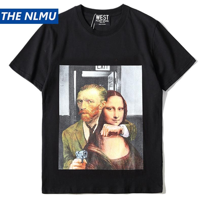 Camisa Dos Homens t de Hip Hop Mona Lisa Imprimir Streetwear Dos Homens Primavera Verão 2019 T-shirt de Algodão Casual Tops T para Homens preto HS003