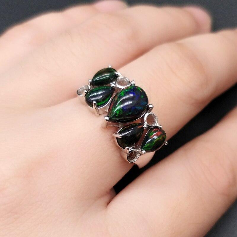 Image 5 - Srebro 925 mecz kolorowe czarny opal pierścień naturalne gruszka kamień fine jewelry specjalny prezent na rocznicę dla bliscy w Pierścionki od Biżuteria i akcesoria na