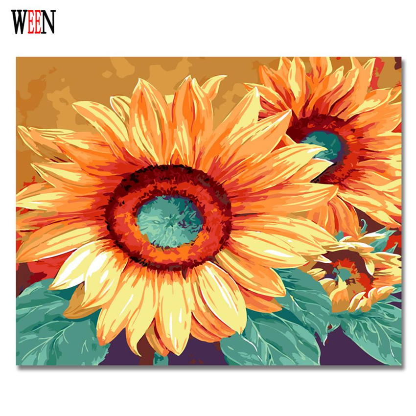 WEEN DIY Big Sunflower Painting By Numbers Modern Digital Flower Wall Art Picture For Home Decor Artwork 2017 New Poster Gift