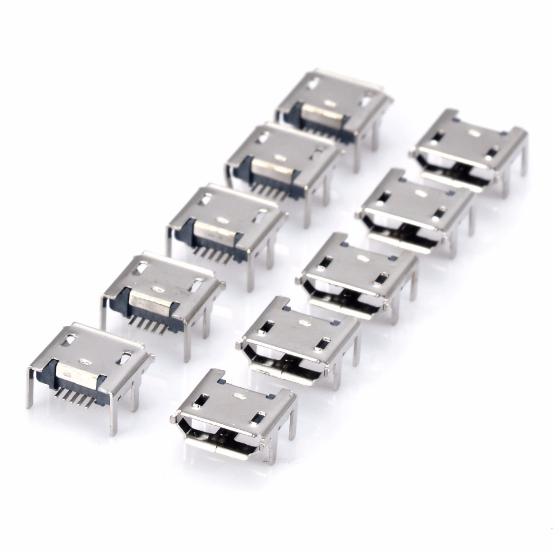 <font><b>10pcs</b></font>/set Micro <font><b>USB</b></font> Female Socket 5pin Type B 4 Vertical Legs Soldering <font><b>Connectors</b></font> image