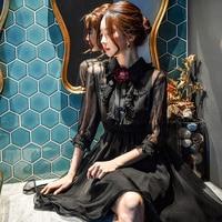 Оригинал 2018 бренд Сетчатое платье женская одежда цветок старинные принцесса брошь рюшами черный тюль вечернее платье женская обувь оптом
