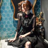 original 2018 brand mesh dress ladies clothes flower vintage princess brooch ruffle black tulle party dresses women wholesale