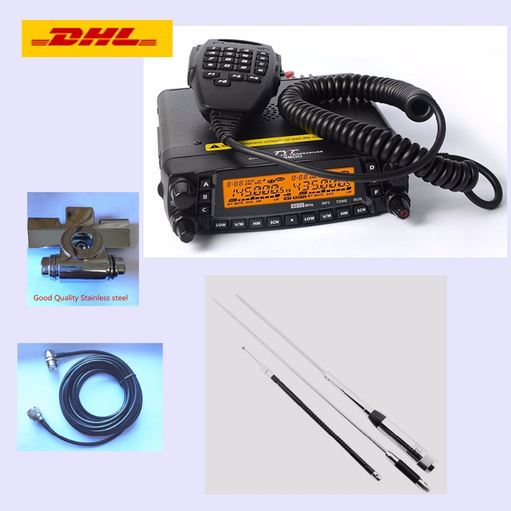 (DHL Shipping) New 1806A TYT TH 9800 Plus (Updated) Quad Band Mobile Radio TYT TH9800 Walkie Talkie With Cable, Mount & Antenna-in Walkie Talkie from Cellphones & Telecommunications    1