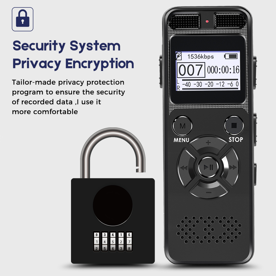 Security Protection Dictaphone Digital Voice Recorder Chip Mini Registrar HIFI Stereo Sound Microphone Support Password Turn On