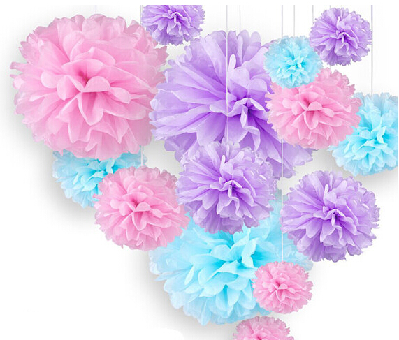 18pcs mixed pink blue lavender purple tissue pom poms paper flower 18pcs mixed pink blue lavender purple tissue pom poms paper flower wedding girl baby birthday shower nursery hanging decoration in artificial dried mightylinksfo