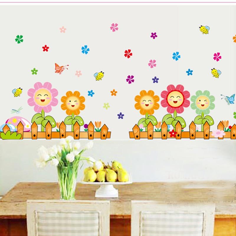 Tersenyum Bunga Matahari Lebah Bunga Berwarna Warni Stiker Dinding