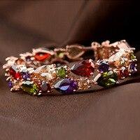 SUPIN Mona Lisa Bijoux De Luxe Délicat Coloré Zircon Bracelets & Bangles Main Chaîne Rose Bracelet En Or Pour Femmes Et Filles