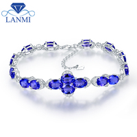 Wholesale Real Solid 18K White Gold Natural Blue Sapphire Bracelet Charming Bangle Diamond Jewelry Loving Fine