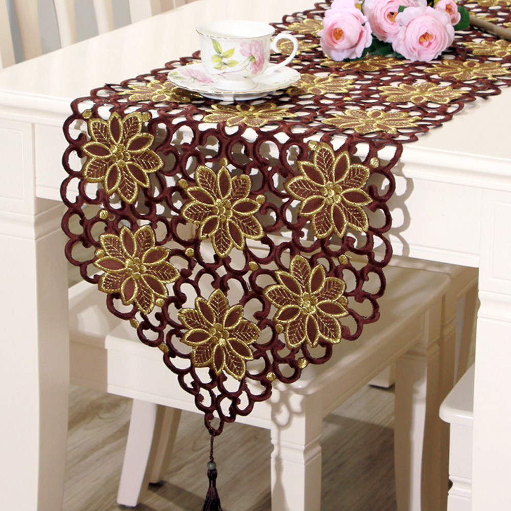 Exceptionnel Aliexpress.com : Buy Yazi Brown Table Runner Embroidered Flower Cutwork  Fabric Tablecloth Wedding Banquet Party Decoration 4 Size From Reliable Table  Runner ...