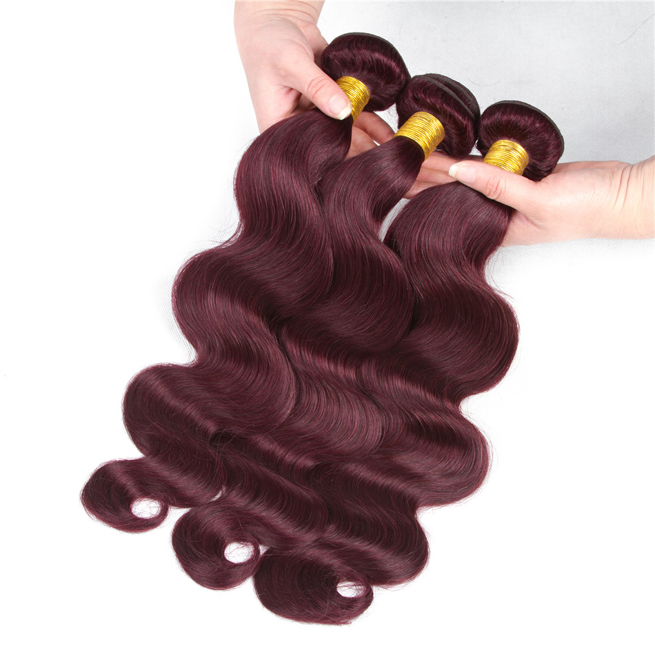 HairUGo Hair Pre-Colored 100% Peruvian Human Hair 3 Bundles Body Wave Hair Weave Bundles #99J Color Hair Extensions