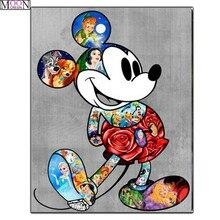 MOONCRESIN Diy Diamond Painting Cross Stitch Cartoon World Mickey Embroidery Square Full Drill Mosaic Decoration