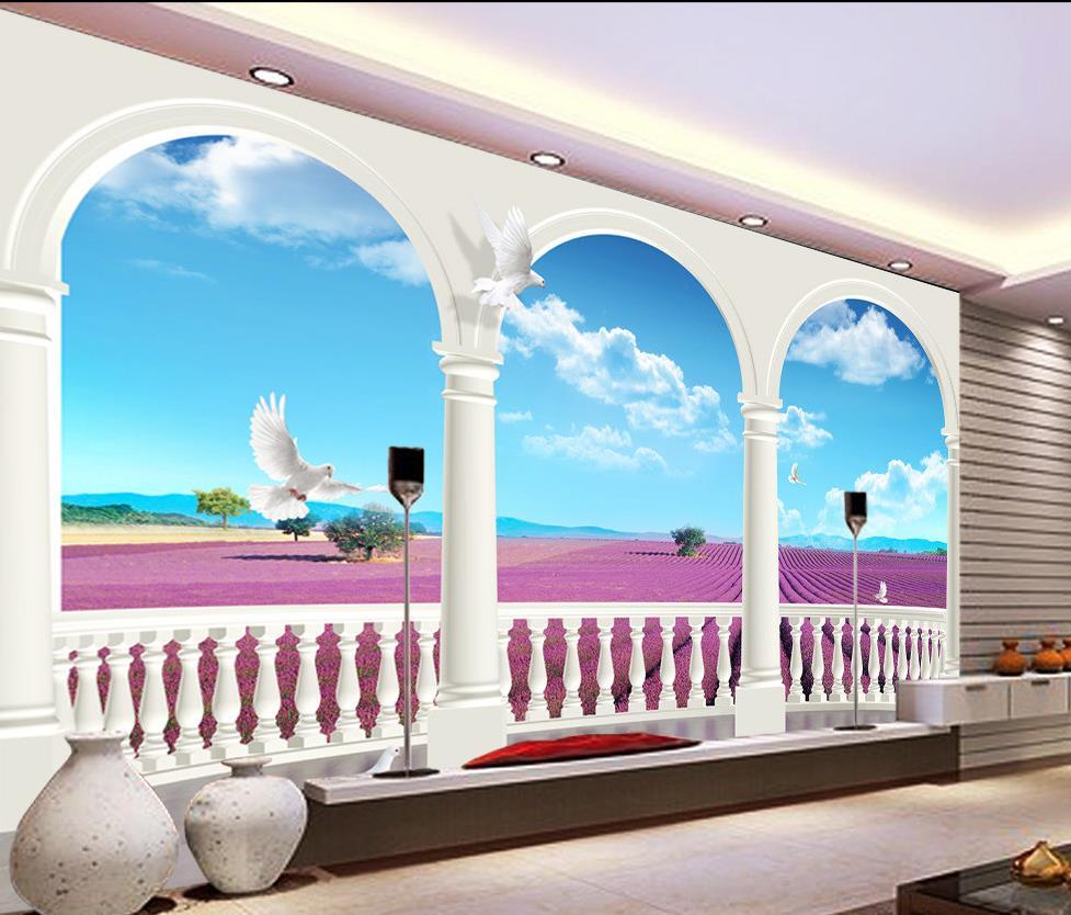 Lavande Bleu Et Blanc Tv Toile De Fond 3d Papier Peint Fleur