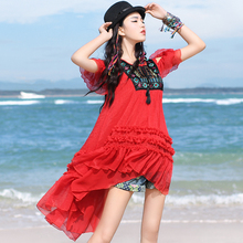 BOSHOW 2017 Spring Bohemian Loose Embroidery Tops Short Sleeve Pullovers Red Chiffon Blouses Ruffles Tassel Female Shirts