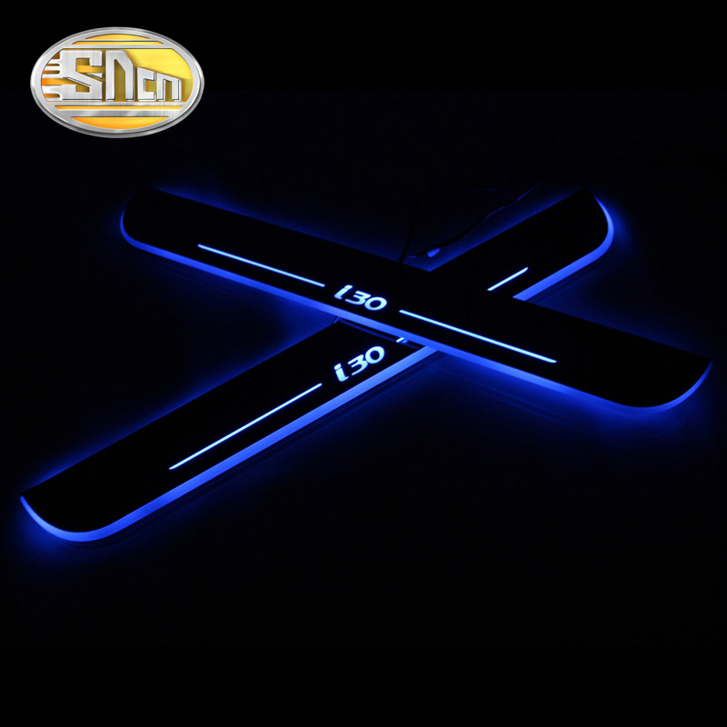 SNCN 4PCS Acrylic Moving LED Welcome Pedal Car Scuff Plate Pedal Door Sill Pathway Light For Hyundai I30 2015 2016 2017 2018