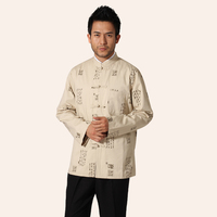 Spring Autumn Beige Men S Cotton Long Sleeve Shirt Chinese Vintage Kung Fu Shirt Tang Suit