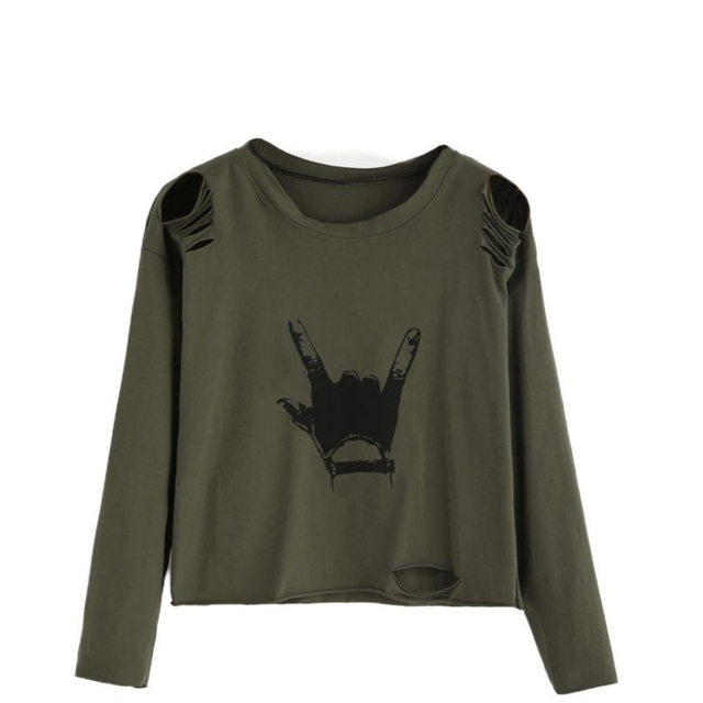 Army Green T Shirt Women Long Sleeve Hole Tops Autumn Loose Tees Sexy Ladies  Round Neck