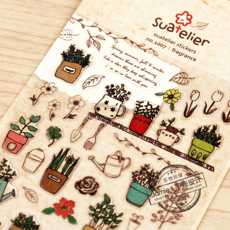 Cute Garden Paper Sticker Diy Decorative Sticker For Album Scrapbook Diary Day Planner & Organizer 1 Sheet