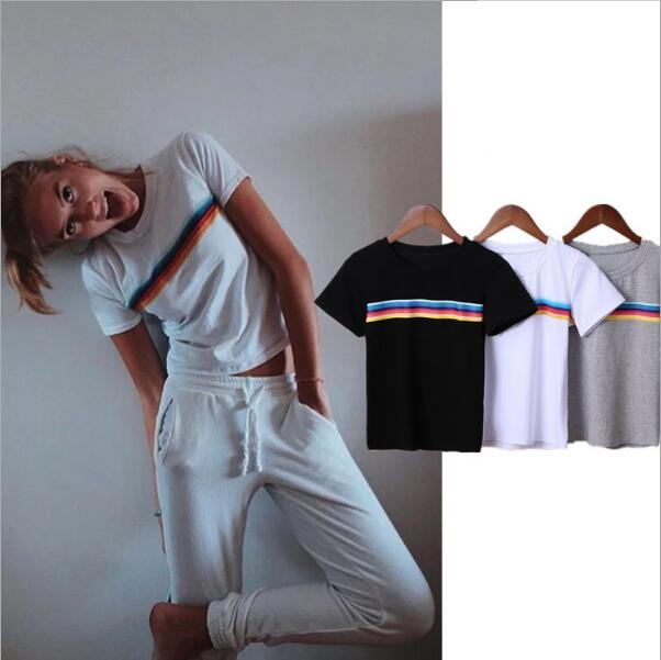 Rainbow Women t-shirt 2018 Summer Casual Color Striped Print T shirt Short Tees Top Solid Cotton tshirt women