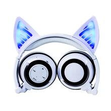 무선 블루투스 고양이 귀 헤드폰 번쩍 이는 LED 라이트 헤드폰 코스프레 헤드셋 이어폰 선물 친구를위한 게임 친구