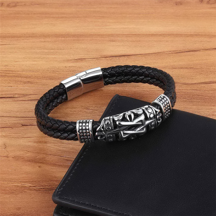 XQNI Punk Style Ancient Architecture Totem Elegant Small Adorn Article Genuine Leather Bracelet Double Layer Hand Jewelry Gift 4