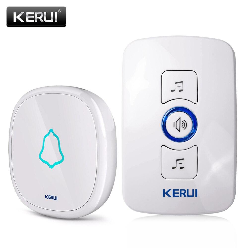 imágenes para KERUI UE/EE.UU./UK plug 32 Canciones Opcional Impermeable Botón Táctil Smart Home Bienvenido timbre de La Puerta de Alarma Inteligente Timbre inalámbrico