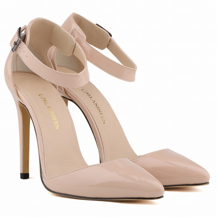 14colors Real Image Two Piece Pointed Toe Ankle Strap Sandal For Women 11cm High Heels Designer Shoes Women Escarpin Femme