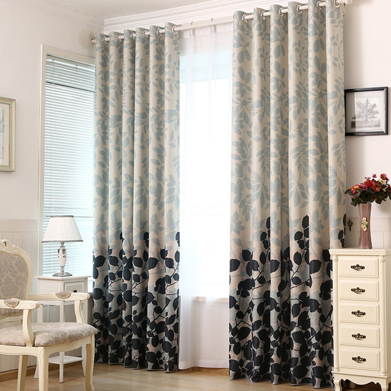 Thick Blackout Curtains For Living Room Bedroom Fashion Printed Leaves Window Curtain Fabric For Kitchen Textile For Home Tende