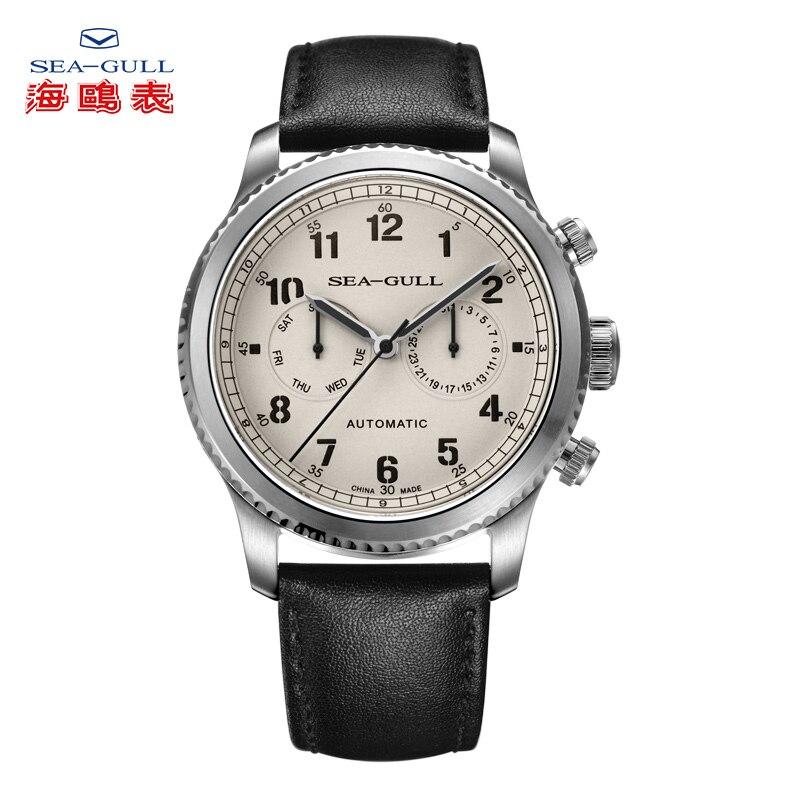 Чайка Бизнес часы Для Мужчин's Механические часы неделю календарь 50 m Водонепроницаемый кожа роскошный мужской часы 819.13.6081