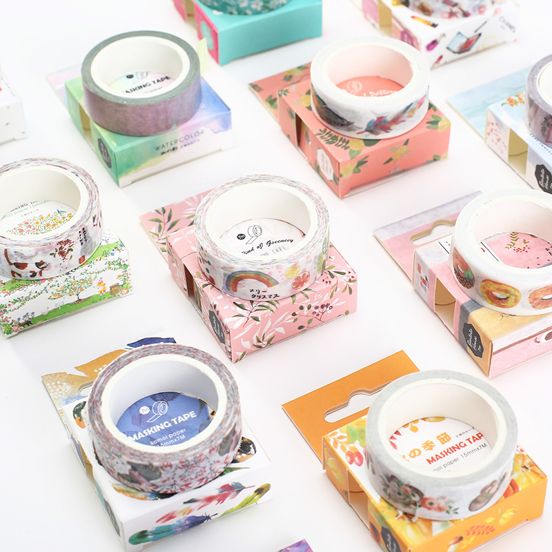 Cartoon Animals Washi Tape Kawaii Scrapbooking Masking Tape Adhesive Tape Japanese Stationery Diy Decorative Tapes 1.5cm*7meter 1pc black and white grid washi tape japanese paper diy planner masking tape adhesive tapes stickers decorative stationery tapes
