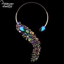 Marca 2016 Nueva Moda Za Dvacaman Crystal Choker Collar Mujeres Vintage Chapado En Oro Maxi Collar Joyería Declaración Boda S90
