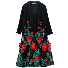 Women trench coat embroidery Over the knee coat