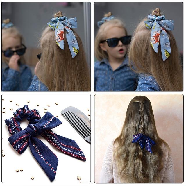 AWAYT Bow Streamers Hair Ring Fashion Ribbon Girl Hair Bands Scrunchies Horsetail Tie Solid Headwear Hair Accessories 2