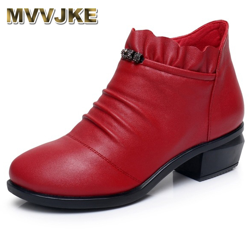MVVJKE Fashion Women Martin Boots Autumn Boots Genuine Leather Ankle Boots 2018 Winter Warm Fur Plush Women Shoes Big Size 43 plus size 34 43 new fashion autumn winter boots women classic zip ankle boots warm plush leather casual martin boots women shoes