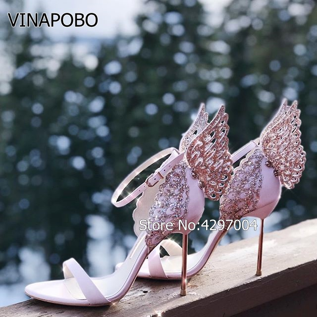 2018 Angel Wing Sandals Women Open Toe Rhinestone Jewelled Stiletto High Heel Shoes Woman Butterfly Sexy Party Wedding Shoes in High Heels from Shoes