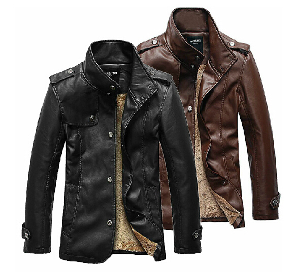 Free shipping ! HOT ! 2014 new Autumn winter men's brand fashion fur coat plus size Leisure PU  leather jacket / M-3XL