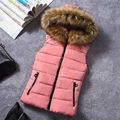 Rihschpiece Зимой Вниз Пальто Жилет Карман Жилет Без Рукавов Куртка Меховой Капюшоном Завышение Топ Жилеты RZF873