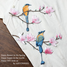 Big Size 25cm x 18cm Bird Patch High Quality Iron On Embroidered Patches for Clothes Garment Applique Embroidery Diy Accessory