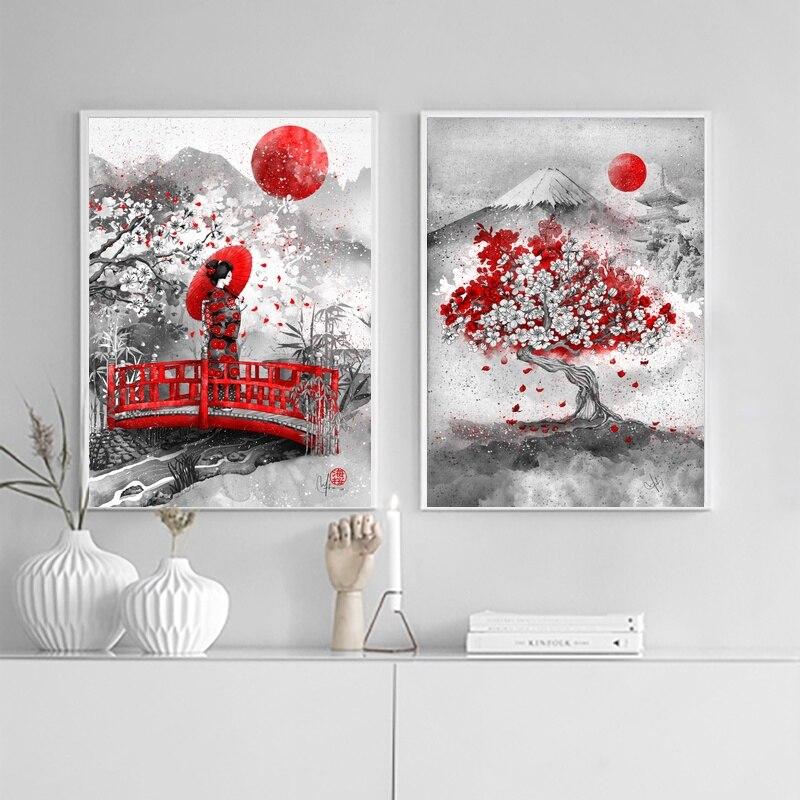 Japanische Tinte Leinwand Kunstdruck Poster Zen Wand Gemälde Für