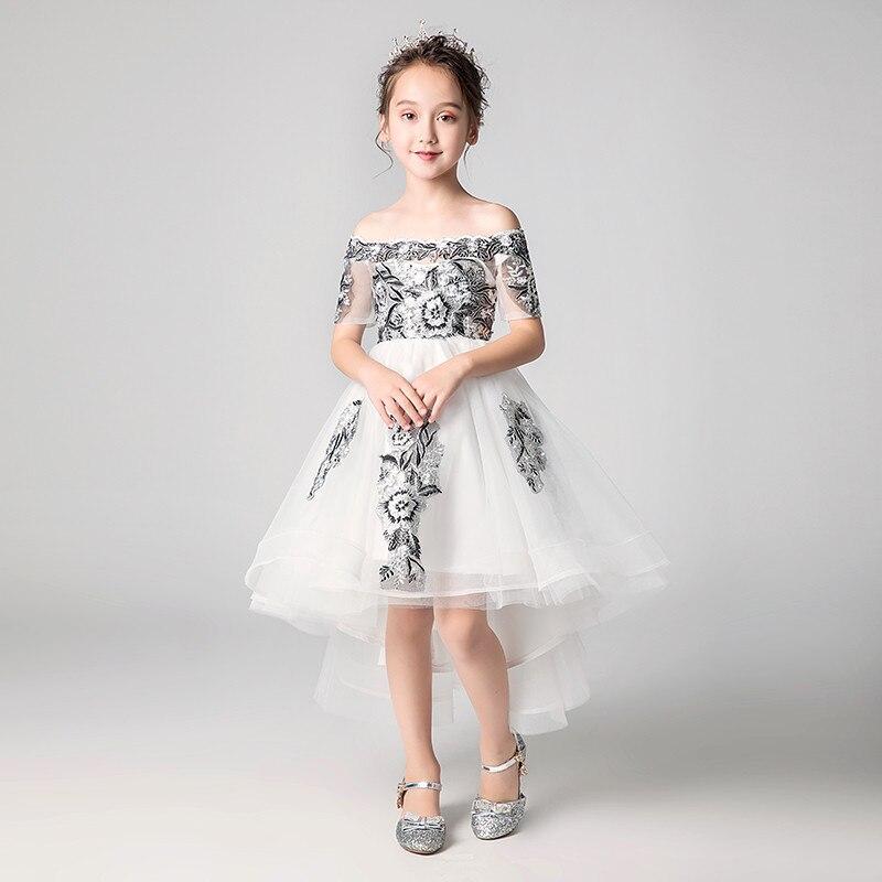 2018 Summer Kids Girls Model Show Evening Party Front Short Back Long Tail Dress Children Toddler Princess Lace Flowers Dress