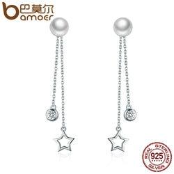 BAMOER 100% 925 Sterling Silver Twinkle Star Imitation Pearl Long Drop Earrings for Women Clear CZ Luxury Jewelry Brincos SCE069