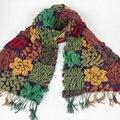 Moda Mulheres Coloridas de Acrílico Longo Cachecóis Grande Pequena Flor Xale Quadrado Chevron Stripe Malha Lenço Acrílico