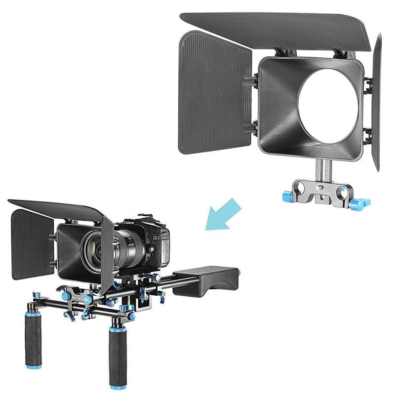 DSLR DV Video Camera Matte Box for 15mm Rail Rod Rig Suppot System Follow Focus ND998