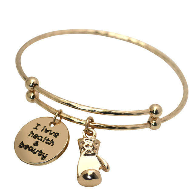 Letter Charm Bangle Bracelets Gold Hand Stamped Initial Gym Boxing