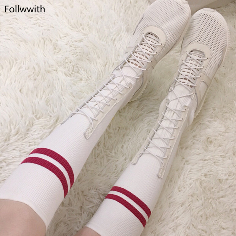Cuisse Mujer Pic Tissu Cuir Chaussures Tricot Mode Souple Femmes Occasionnels Respirant Zapatos En Appartements Pic As Bottes as Rayures Haute HXqwwO4Sn