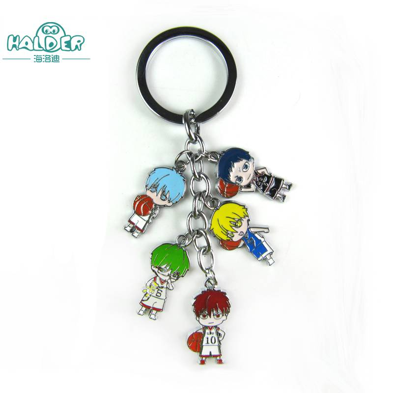 Halder Kuroko no Basuke Key Chains Anime Pendants Keyring Round Bag Trinkets Animation Cartoon Characters Decoration Accessories