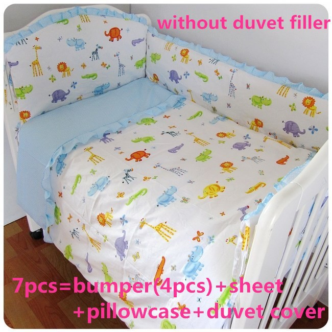 Promotion! 6/7PCS baby bedding set baby boy crib bedding set cartoon animal baby crib set ,120*60/120*70cm